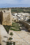 Gardens at Citadel at Victoria on Gozo, Malta. Gardens inside Citadel at Victoria on Gozo, Malta with view of part of town and surrounding countryside beyond Royalty Free Stock Image