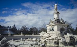 Gardens of the city of Aranjuez, located in Spain. Stone palace. And beautiful autumn landscapes with beautiful fountains and mythological figures Stock Image