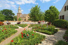Gardens at Colonial Williamsburg in front of Bruto Royalty Free Stock Photos