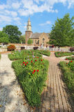 Gardens at Colonial Williamsburg in front of Bruton Parish Churc Royalty Free Stock Image