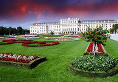 Gardens and Flowers In Schoenbrunn Castle, Vienna Royalty Free Stock Photo