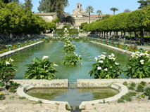 Gardens and fountain of the Alcazar in Cordoba Royalty Free Stock Photos