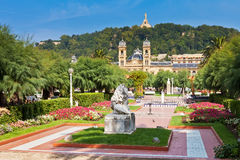 Gardens in front of the City Hall in Donostia Royalty Free Stock Photo