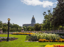 Gardens in front of State Capitol Denver Stock Photo