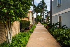 Gardens and houses along walkway, on Lido Isle royalty free stock photos