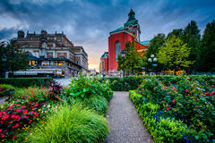 Gardens at Kungsträdgården, and St. Jacobs Kyrka in Norrmalm, Royalty Free Stock Photography