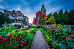 Gardens at Kungsträdgården, and St. Jacobs Kyrka in Norrmalm, Royalty Free Stock Photos