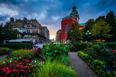 Gardens at Kungsträdgården, and St. Jacobs Kyrka in Norrmalm, Stock Image