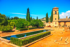 Gardens of La Alhambra in Granada, Spain Stock Photo
