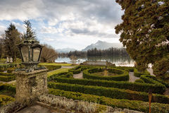 Gardens at a lake during sunset Royalty Free Stock Photography