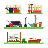 Gardens landscape with different furniture. Summer outdoor royalty free illustration