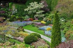 Gardens landscaping. Sunken garden landscaping in the historic butchart gardens, victoria, british columbia, canada Stock Images