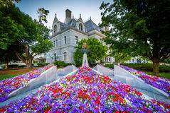 Gardens and the Legislative Office Building, in Concord, New Ham. Pshire royalty free stock photos