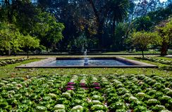 The Gardens of Maria Luisa Park. Maria Luisa Park`s gardens, located in the centre of Seville, are one of the a must to visit in the city Royalty Free Stock Photo