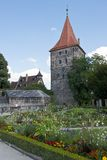 Gardens and medieval Tower in Nuremberg Stock Photography