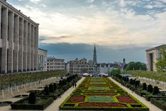 the Gardens of Mont des Arts and belfry of Town Hall ,Brussels, stock image