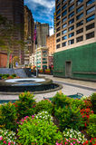 Gardens at the New York Vietnam Veterans Memorial Plaza in Lower Stock Photography
