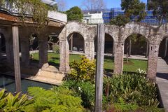 Gardens at Old Paddington Reservoir. The roof of the 100 year old Paddington Sydney reservoir collapsed and it was turned into a sunken garden Royalty Free Stock Photos