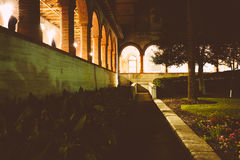 Gardens outside Ponce de Leon Hall at night, in St. Augustine, F Stock Image