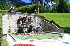 Gardens and park with the fountain of the castle Linderhof in Germany Royalty Free Stock Photo
