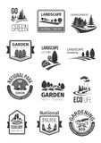 Gardens and parks landscape design vector icons. Green landscape and garden planting or designing company vector icons set.  symbols or labels of parks and Royalty Free Stock Photos