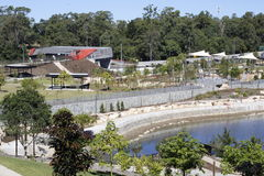 Gardens and picnic grounds built on Legacy Way construction site Stock Photos