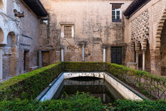 Gardens and pond in the Alcazar of Seville. Wide-angle view of one of the outer ponds in the Alcazar of Seville, a royal palace developed by Moorish Muslim Kings Stock Photos