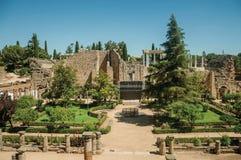 Gardens at the Roman Theater of Merida royalty free stock photo
