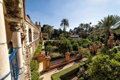 The gardens of the Royal Alcazar. Seville, Spain royalty free stock photos