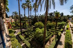 The gardens of the Royal Alcazar. Seville, Spain stock image
