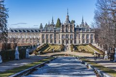 Gardens of the royal palace of La Granja de San Ildefonso back s royalty free stock images