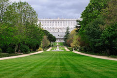 Gardens of the Royal Palace, Madrid, Spain. A view on the Palacio Real (Royal Palace) in Madrid, Spain, a major tourist attraction in the city. The palace is Stock Photos
