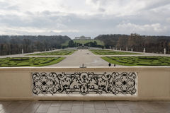 The Gardens of Schönbrunn Palace. The sculpted garden space between the palace and the Sun Fountain is called the Great Parterre. The French garden, a big stock photo