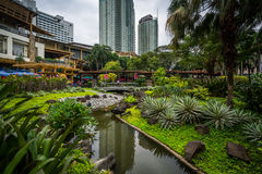 Gardens and skyscrapers at Greenbelt Park, in Ayala, Makati, Met Royalty Free Stock Image