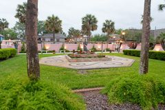 Gardens of St Augustine, Florida at sunset.  stock image