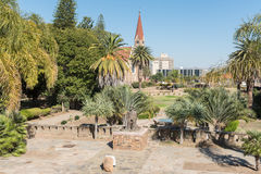 Gardens at the Tintenpalast, the Namibian parliament building in stock photo