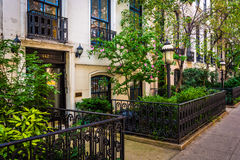 Gardens and townhouses along 23rd Street in Chelsea, Manhattan, Royalty Free Stock Images
