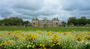 Gardens and Versailles Castle  in Paris, France. The Gardens of Versailles occupy part of what was once the Domaine royal de Versailles, the royal demesne of the Royalty Free Stock Photo