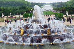 Gardens of Versailles Chateau. Tourists visiting Versailles Chateau in Paris, august 2008 royalty free stock image