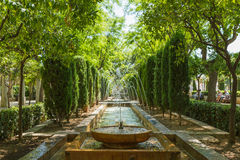 Gardens and water fountains near Almudaina Palace in Palma, Mallorca, Spain Stock Image