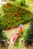 The gardens were cut into a heart shape With a red bicycle Royalty Free Stock Images