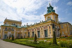 Gardens in Wilanów castle or Wilanowski palace in Warsaw in Poland, Europe royalty free stock images