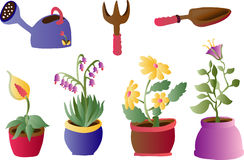 Gardenting and Plants (Vector). A clip art vector illustration with pot and flowers Royalty Free Stock Images