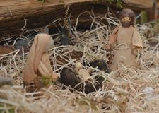 Garderie de Noël avec Joseph Mary et Jésus photographie stock
