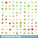 100 gardering geplaatste pictogrammen, beeldverhaalstijl Royalty-vrije Stock Afbeeldingen