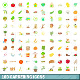 100 gardering icons set, cartoon style. 100 gardering icons set in cartoon style for any design vector illustration Royalty Free Stock Images