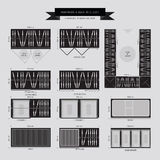 Garderoba i spacer w szafa meble ikonie Zdjęcie Stock