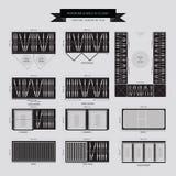 Garderoba i spacer w szafa meble ikonie ilustracja wektor