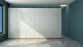 Garderobe in einer leeren Wiedergabe des Raumes 3D lizenzfreie stockfotos