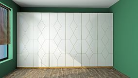 Garderobe in einer leeren Wiedergabe des Raumes 3D stockbild